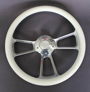 New-Nova-Chevelle-Steering-Wheel-White-Grip-14-034-Chevy-Bowtie-Center-Cap