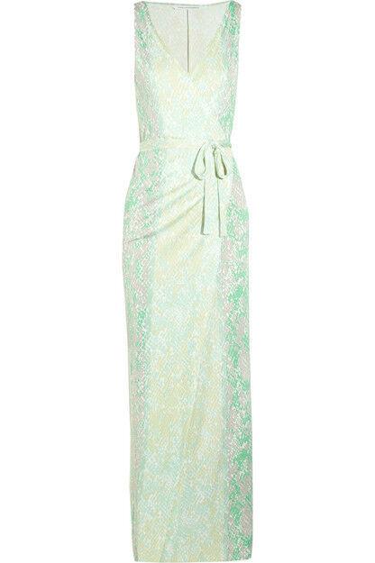 DVF Diane von von von Furstenberg Serpent Yazhi Silk Jersey Wrap Maxi Dress 2  NEW bdb058