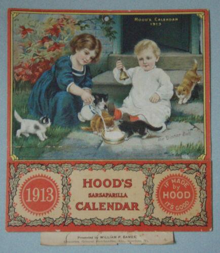POPULAR 1913 HOOD/'S SARSAPARILLA ADVERTISING CALENDAR CHILDREN /& KITTENS  MINT!!