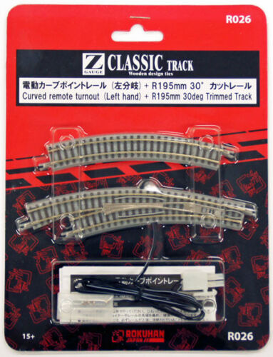 1//220 Z Scale Rokuhan R026 Curved Remote Turnout Left Hand /& R195mm 30º Track