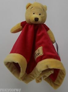 Disney Winnie The Pooh Yellow Red Security Blanket 13x13