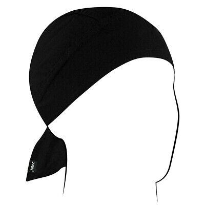 PLAIN BLACK HEADWRAP ZANDANA HEADCOVER SKULL CAP BIKER  EASY TIE DU RAG