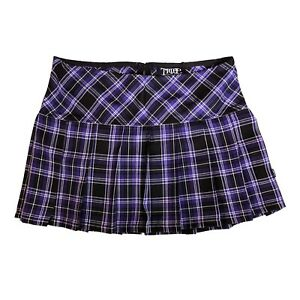Tripp NYC 80s 90s Gothic Punk Purple Tartan Plaid School Girl Mini Skirt Size XL