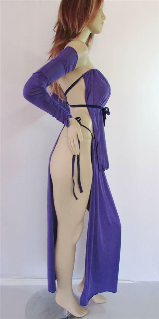 Gorean Slave NWT Zanzadesig​ns Role-Play Purple Lycra Ruched Arms Kajira Set