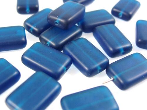 15 x 10 mm rectangle satiné; * 1558 20 x Séquoia perles de verre Petrol