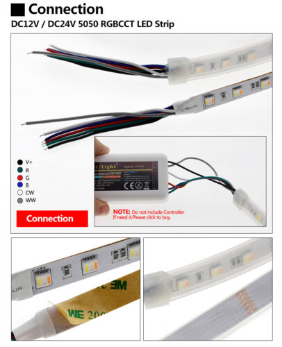 12V//24V 5in1 RGB+CCT LED Stripe Dimmbar 5050SMD Streifen Licht Band 5M 300Leds
