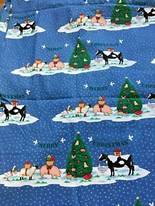 Merry Christmas Animals.Details About Vtg 1993 Fabric Traditions 4 Yards Merry Christmas Animals Chicken Farm Tree Pig