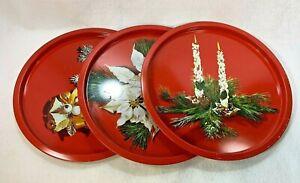 Vintage-Christmas-Tin-Metal-Round-Serving-Cookie-Trays-Set-of-3