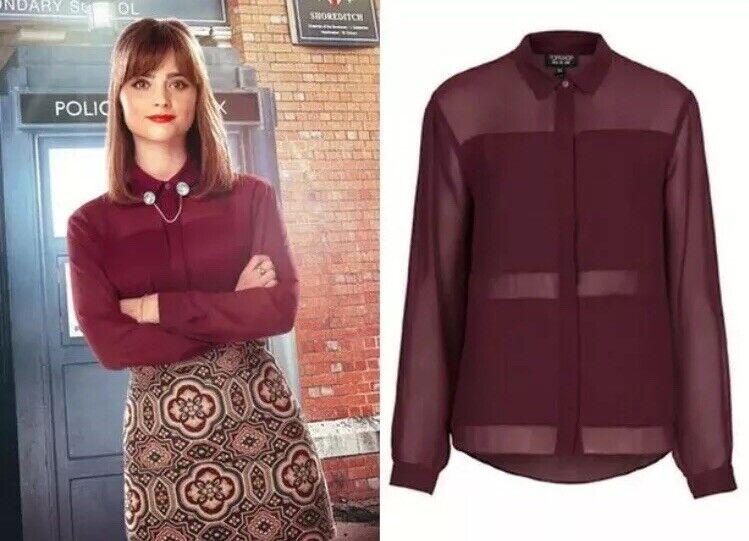 Topshop Burgundy Maroon Wine Double Sheer Panel SA Cosplay Blouse Shirt Top 6 XS