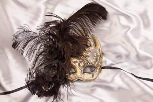 Feather and Flower Swan Masks Black Cigno Fiore Piuma Gold