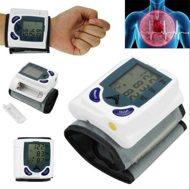 Digital Wrist Blood Pressure Monitor & Heart Beat Meter Memory LCD Screen 2Y