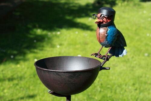 Gartenstecker Vogeltränke Vogelbad mit Vogel Metall