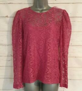 BNWT-Size-10-LACE-Top-With-Cami-TU-Pink-Long-Sleeved-Formal-Women-039-s-Ladies