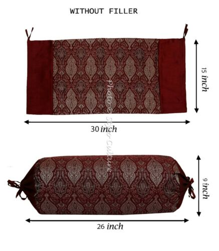 Bed Bolster Cushion Cover Home Wedding Decor Silk Indian Pillow Cases 30 x 15/""
