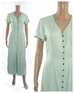 ex-Marks-amp-Spencer-Polka-Dot-Mint-Button-Through-Maxi-Vintage-Design-Tea-Dress