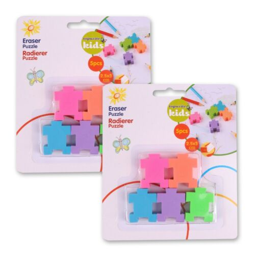10x INTERLOCKING PUZZLE PIECE THEMED ERASERS Small Mini Kids Party Loot Bag Gift
