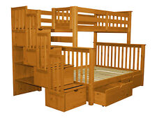 Bunk Beds Twin over Full Stairway, 4 Step and 2 Bed Drawers, Honey