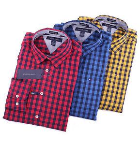 Tommy Hilfiger Men Long Sleeve Button Down Plaid Custom