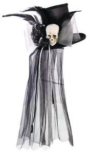 Womens Mini Skull Top Hat with Veil Feather Fancy Halloween Costume Accessory