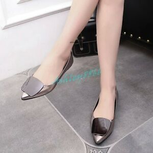 Fashion-Hot-Womens-Patent-Leather-Pointed-Toe-Square-Metal-Heel-Shoes-Flats-Chic