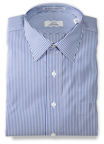 Cooper /& Stewart Big /& Tall Banker/'s Stripe Spread Collar Dress ShirtBlue