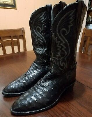 bc94fbb2f83 Dan Post Men Black Ostrich Skin Cowboy Western Exotic Fashion Boots Size 11  D | eBay