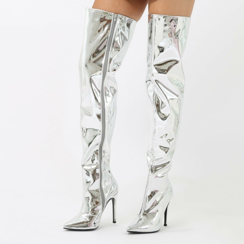 Nuevo Y En Caja 7 40 Plata Espejo Lámina metálica sobre la rodilla botas de PVC de vinilo OTK muslo