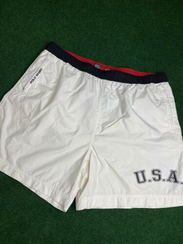 Vintage 90's Red White USA Polo Sport Spellout Sho