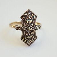 Stunning Art Deco 9ct Gold & Silver Marcasite set Ring c1920; UK Size 'J 1/2'