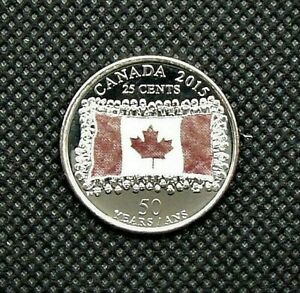 Condition 2015 Canadian 25 Cent 50 YEARS in Brilliant Uncirculated BU