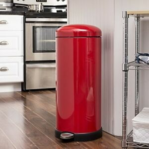 Details About Red Kitchen Garbage Can 8 Gal Metal Trash Cans Flip Top Soft Close Retro Style