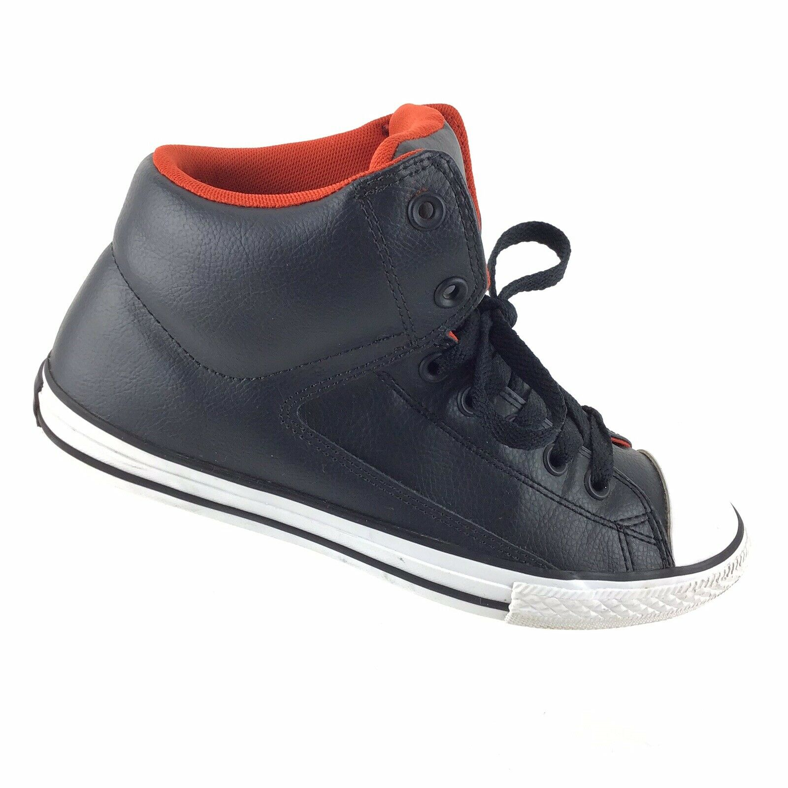 Converse All Star CT Street Mid-Top Black Leather Athletic Sneakers Mens 6 R5S5