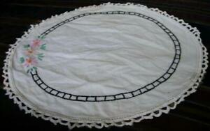 Beautiful-Antique-Embroidered-Round-Cotton-Doily-w-Crochet-Lace-Edging