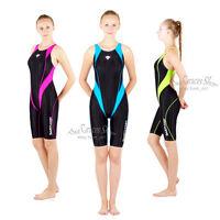 Hxby Girl Children One Piece Technical Racing Full Knee Swimsuit Swimwear Blue
