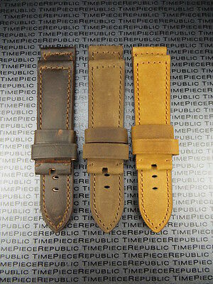 24mm Leather Strap Brown Deployment Assolutamente Watch Band Pam 1950 Large L