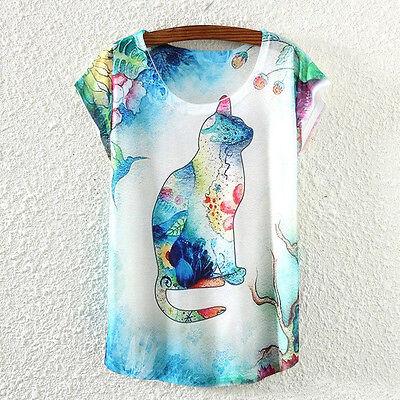 New Fashion Summer Women Short Sleeve Cat Animal Print T Shirt Tee Blouse Tops