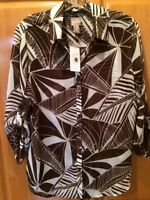 Chico's 3/4 Sleeve Blouse Brown Pattern Size 1