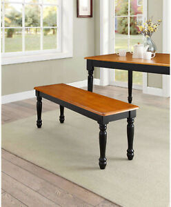 Enjoyable Details About Dining Bench Seat Oat And Black For Dining Table Kitchen Room Solid Wood 1 Piece Gmtry Best Dining Table And Chair Ideas Images Gmtryco