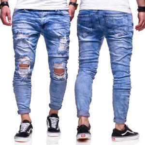 32a6cbfb57bc3f Das Bild wird geladen BEHYPE-Destroyed-Jeans-Roehrenjeans-Slim-Fit-Herren- Chino-