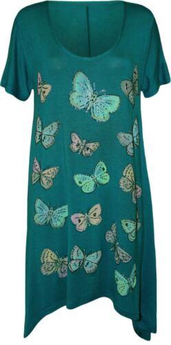 Womens Glitter Butterfly Print Tunic Hanky Hem T-Shirt Long Top Plus Size 14-28