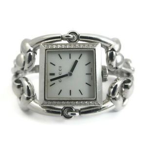 77038b7f9b5 Image is loading Gucci-Signoria-Stainless-Steel-Diamond-Watch-Mother-of-