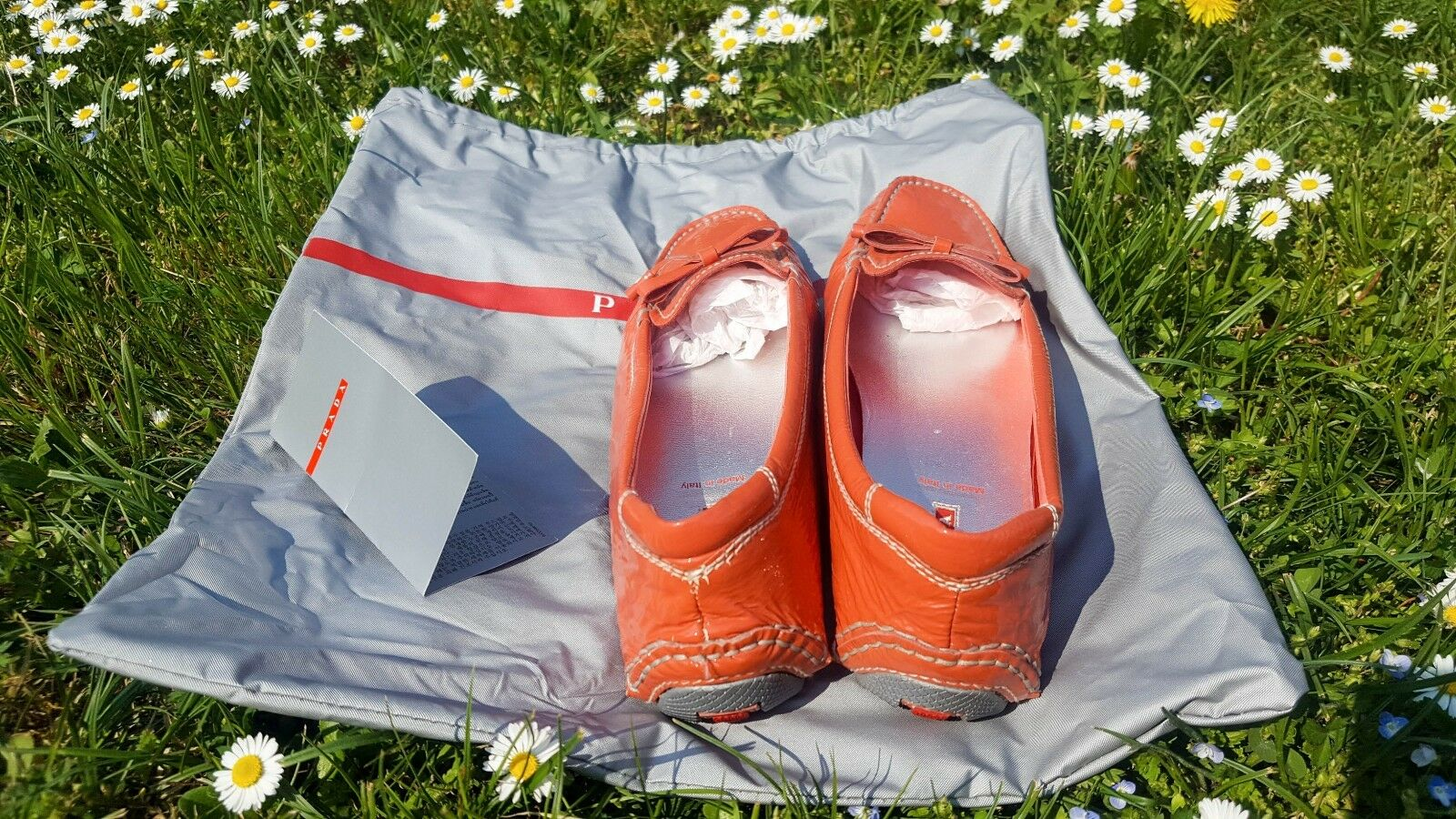 PRADA Coral Patent Leder Ballerina Loafer UK Moccasin Schuhe Sz 36.5 UK Loafer 3.5 Fit Big 8e844e