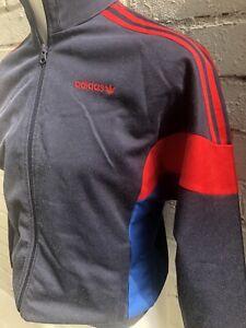 Adidas-Originales-Track-Top-Talla-S-Azul-Rojo-De-Hombre-Chaqueta-de-estilo-vintage-y-retro