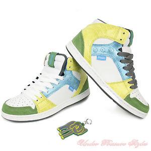 Damen Schuhe ETNIES Sneaker Turnschuhe PERRY MID Skate wei grün gelb Leder NEU