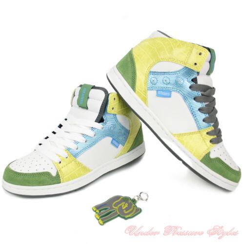 Damen Schuhe ETNIES Sneaker Turnschuhe PERRY MID Skate weiß grün gelb Leder NEU