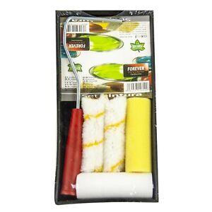 6pc-lavoro-di-piccole-dimensioni-Set-Rullo-Vernice-Touch-Up-Kit-Mini-4-034-manica-Maniglia-amp-Tray