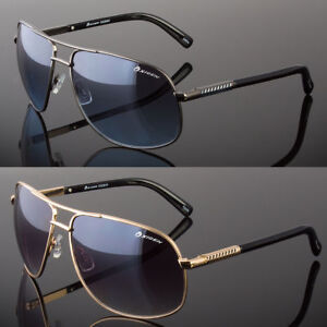 New-Designer-Square-Aviator-Sunglasses-Metal-Bar-Retro-Frame-Men-039-s-Fashion