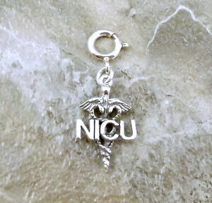Sterling-Silver-034-NICU-034-Caduceus-Charm-fits-Euro-and-Link-Charm-Bracelets-1436