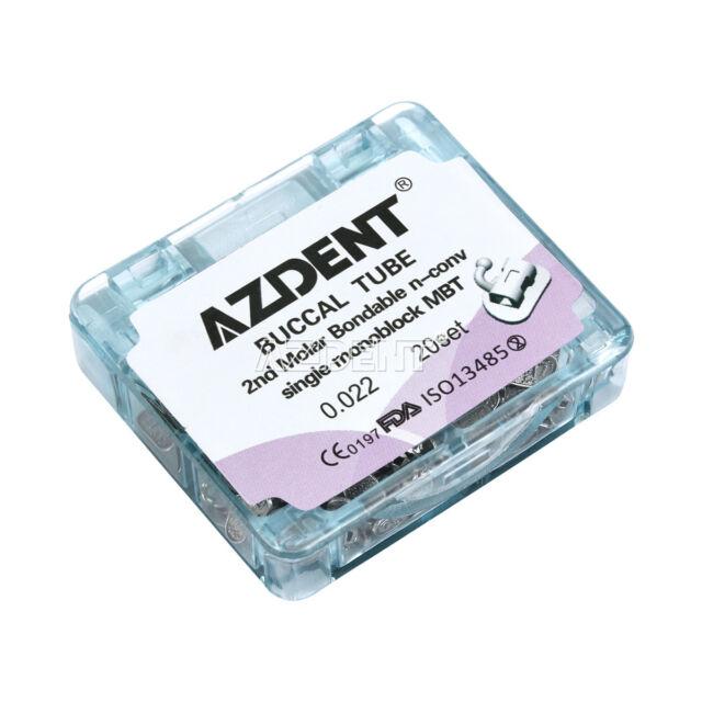80Pc Ortho Azdent Dental 2nd Molar Inblock Non-Convertible Buccal Tube MBT .022