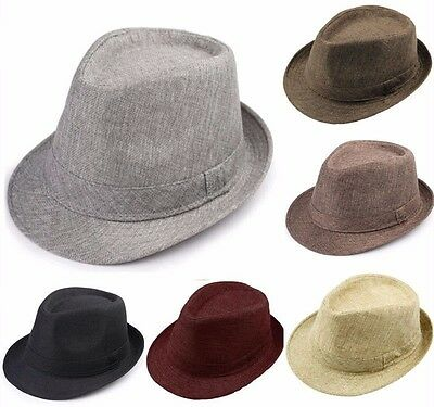 New Men Women Summer Beach Sun Jazz Casual Fedora Hat Trilby Straw Panama Cap